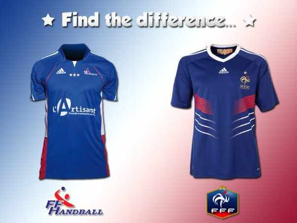 difference maillots equipe france handball football