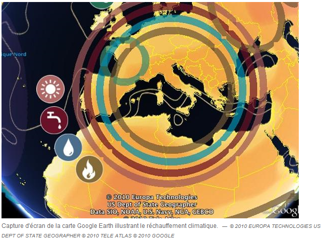 map Google Earth rechauffement climatique