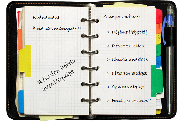 agenda avec règles d'or pour l'organisation et la gestion d'évènements
